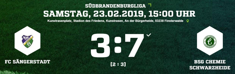 FC Sängerstadt mit höchster Saisonniederlage