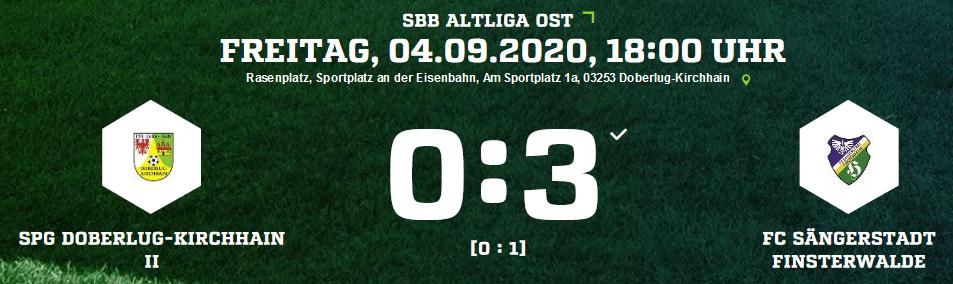 Ergebnisse der Spiele des FC Sängerstadt vom 04. – 06.09.2020