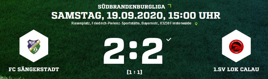 Die Ergebnisse des FC Sängerstadt am 18. – 19.09.2020