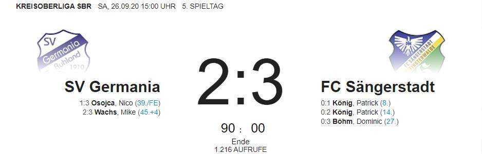 Ergebnisse der Spiele des FC Sängerstadt am 24. – 26.09.2020