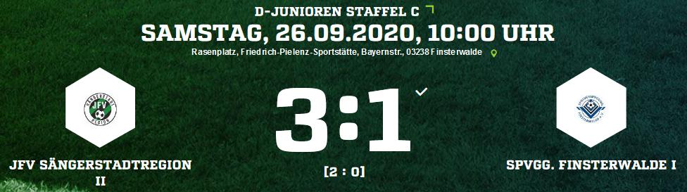 Ergebnisse der Spiele des JFV Sängerstadtregion vom 26. – 27.09.2020