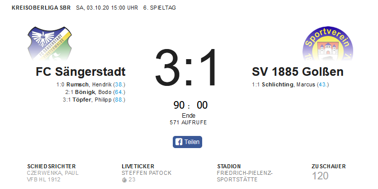 FC Sängerstadt mit erstem Heimsieg der Saison